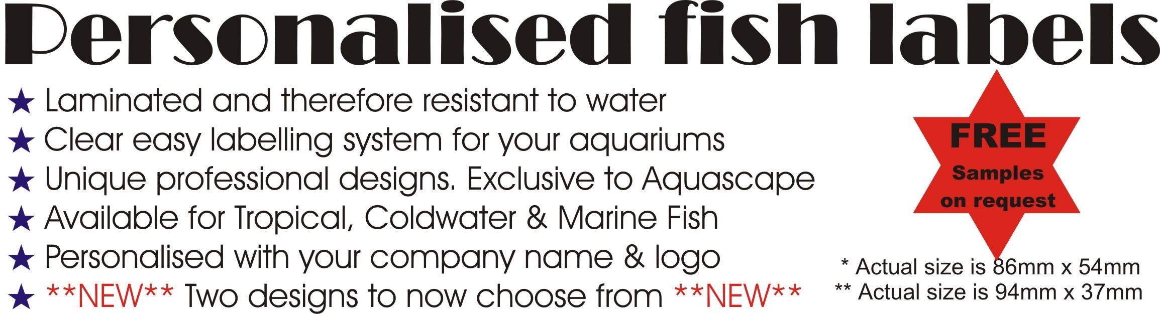 AQUASCAPE FISH IMPORTS - Personalised Aquarium Labels